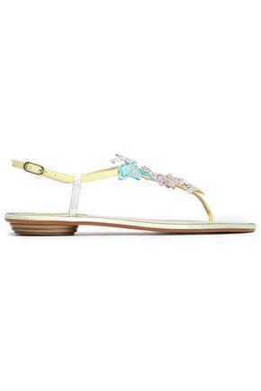 RENE' CAOVILLA Appliquéd leather sandals