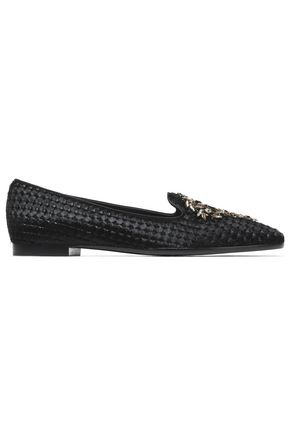 RENE' CAOVILLA Crystal-embellished pony hair slippers