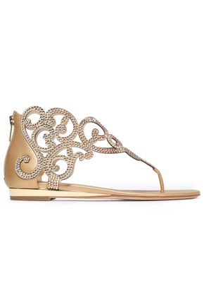RENE' CAOVILLA Crystal-embellished satin and metallic leather sandals