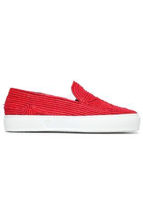 ROBERT CLERGERIE Raffia slip-on sneakers