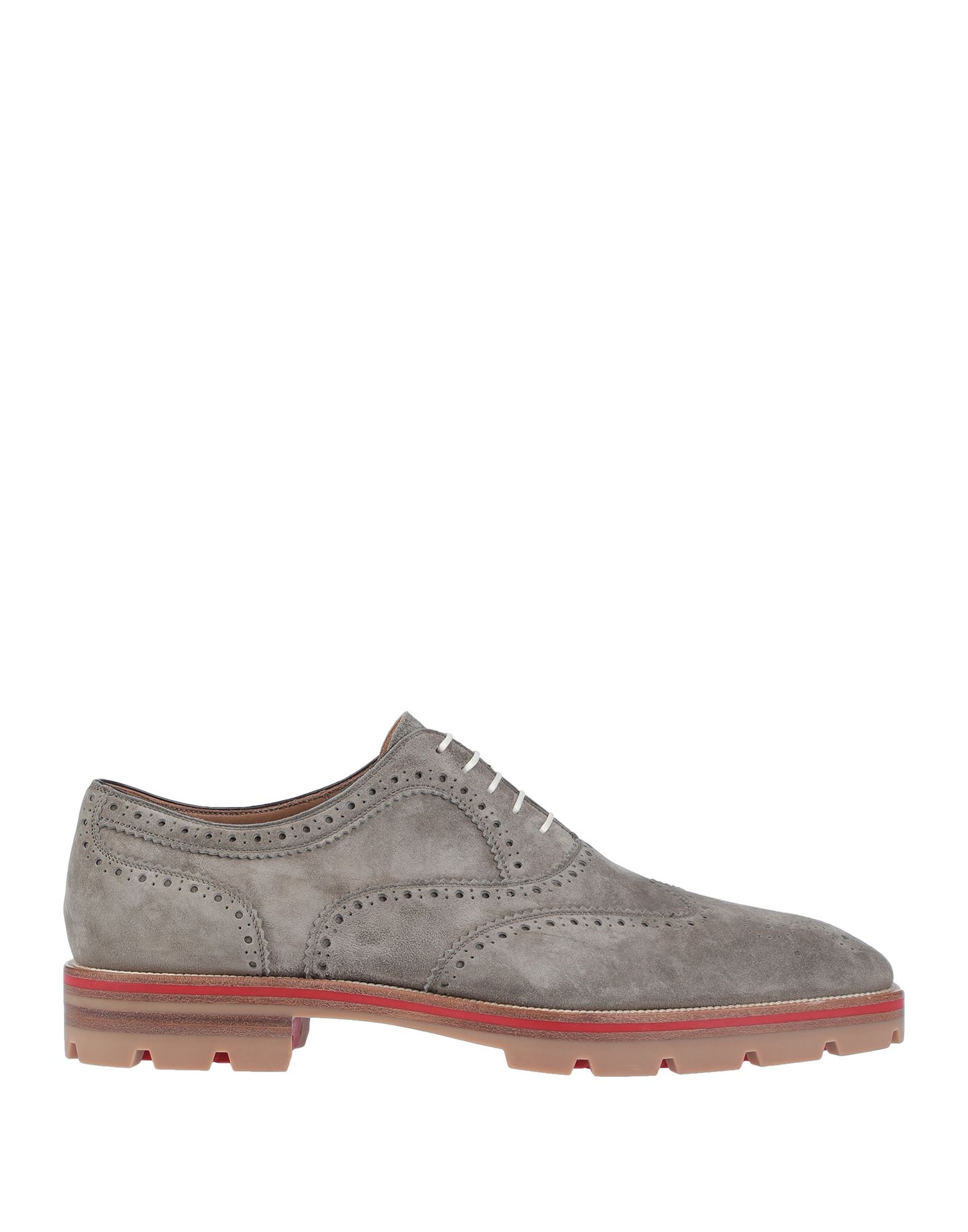 CHRISTIAN LOUBOUTIN Lace-up shoes. suede effect, no appliqués, solid color, square toeline, square heel, rubber cleated sole, rubber lining, contains non-textile parts of animal origin. Soft Leather