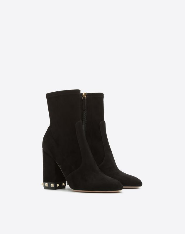 Stretch Suede Rockstud Bootie 100mm