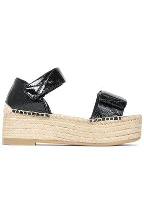 MM6 by MAISON MARGIELA Glossed snake-effect leather platform espadrille sandals