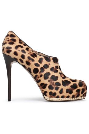 VALENTINO Stud-embellished leopard-print pony-hair pumps