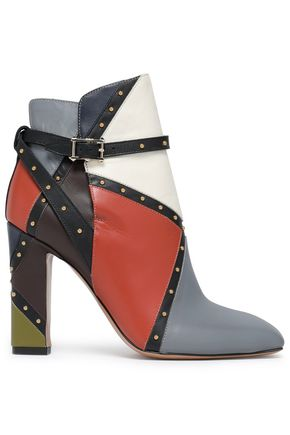 VALENTINO GARAVANI Stud-embellished color-block leather ankle boots