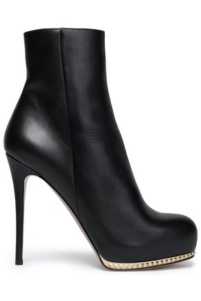 VALENTINO GARAVANI Stud-embellished leather ankle boots