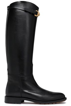 VALENTINO GARAVANI Buckled leather knee boots