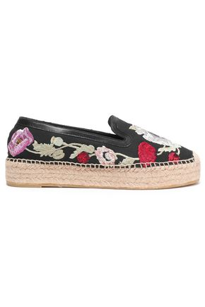 e9d82b96f32 ALEXANDER MCQUEEN Leather-trimmed embroidered canvas espadrilles