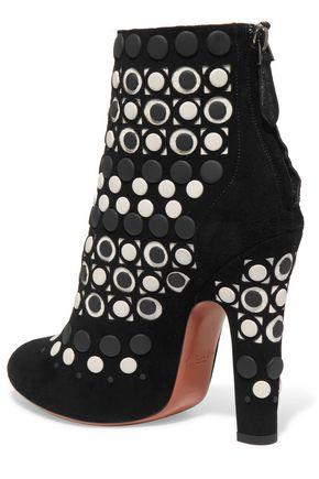 ALAÏA Studded laser-cut suede ankle boots