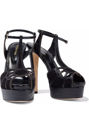 SERGIO ROSSI Puzzle cutout lizard-effect leather and suede platform sandals