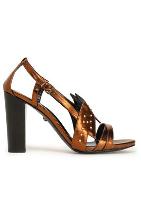 JUST CAVALLI Stud-embellished metallic leather sandals