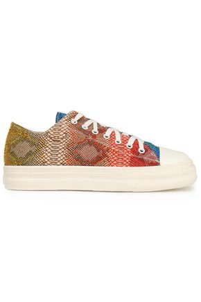JUST CAVALLI Snake-print canvas sneakers