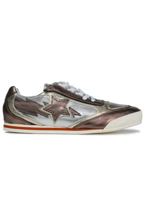 JUST CAVALLI Metallic leather sneakers