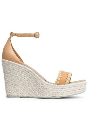 MANEBÍ Embroidered leather espadrille wedge sandals