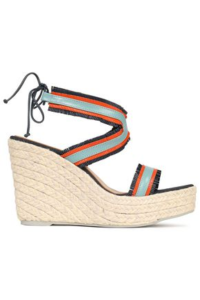MANEBÍ Fringe-trimmed color-block wedge espadrille sandals