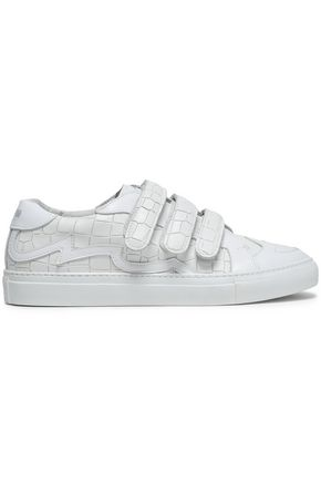 JUST CAVALLI Croc-effect leather sneakers