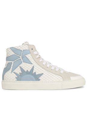 JUST CAVALLI Suede-appliquéd snake-effect leather high-top sneakers