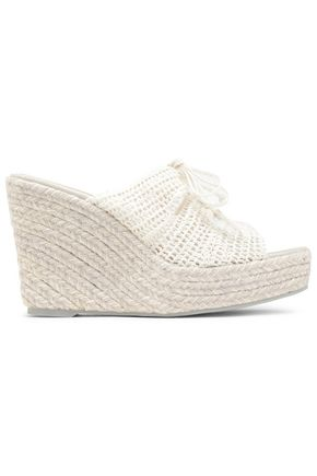 MANEBÍ Lace-up crochet espadrille wedge sandals