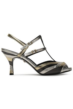 JUST CAVALLI Metallic color-block leather sandals