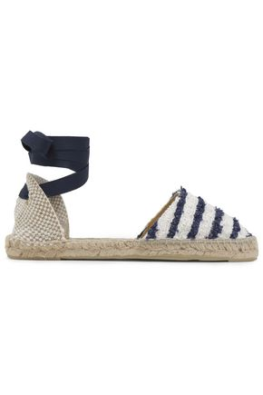 MANEBÍ Grosgrain-trimmed fringed striped woven espadrilles