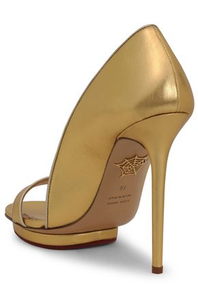 CHARLOTTE OLYMPIA Metallic leather platform sandals