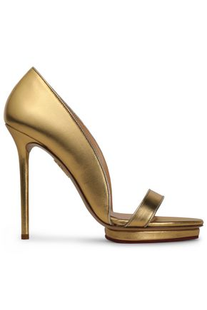 CHARLOTTE OLYMPIA Metallic leather platform sandals