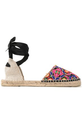 MANEBÍ Lace-up embroidered canvas espadrilles