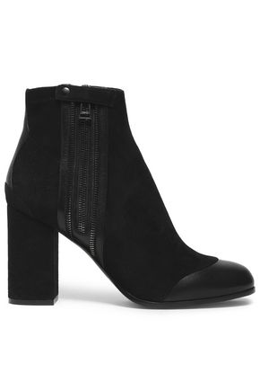 BELSTAFF Leather-trimmed suede ankle boots