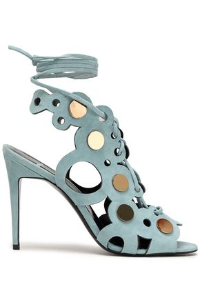 PIERRE HARDY Lace-up embellished laser-cut suede sandals