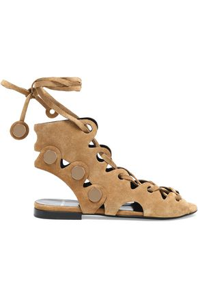 PIERRE HARDY Lace-up embellished suede sandals