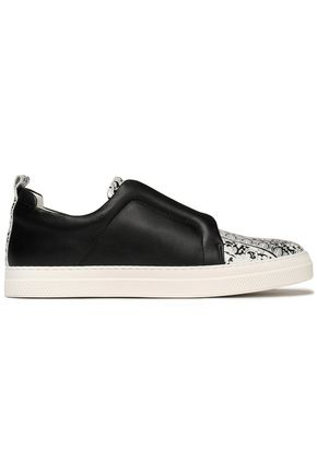 PIERRE HARDY Printed paneled leather sneakers