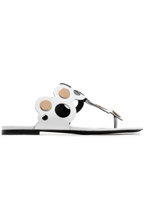 PIERRE HARDY Embellished cutout leather slides