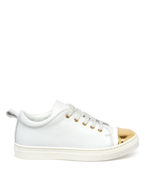 WHITE AND GOLD SNEAKER - Lanvin