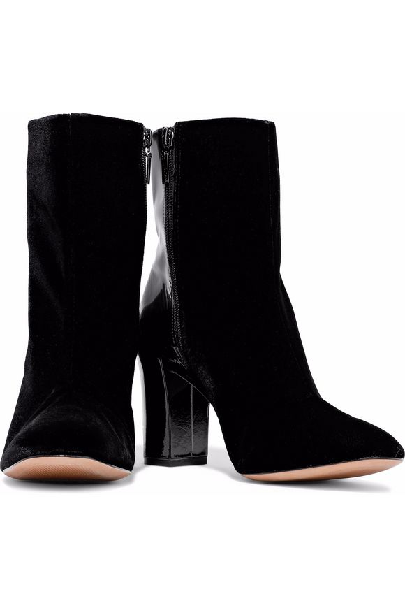 Patent leather-paneled velvet ankle boots | SCHUTZ | Sale up to 70% off |  THE OUTNET