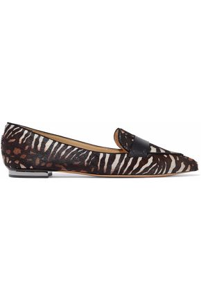 SCHUTZ Leather-trimmed zebra-print pony-hair loafers
