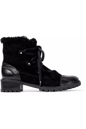 SCHUTZ Shearling and leather-trimmed suede ankle boots