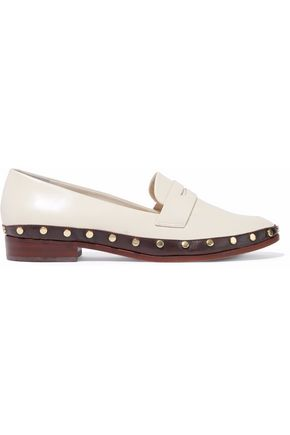 SCHUTZ Studded glossed-leather loafers