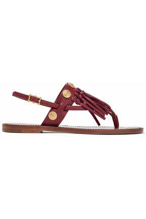 VALENTINO GARAVANI Fringe-trimmed embellished leather sandals