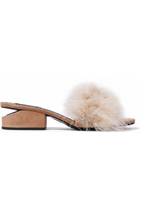 ALEXANDER WANG Lou feather-embellished suede mules