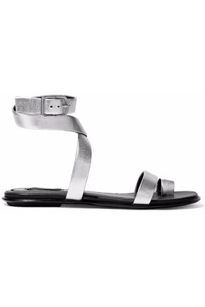 ALEXANDER WANG Naura metallic textured-leather sandals
