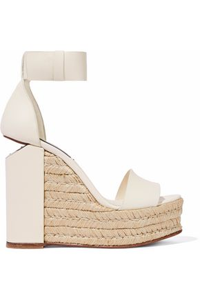 962542e0d Alexander Wang Woman Cutout Leather Espadrille Wedge Sandals Ivory