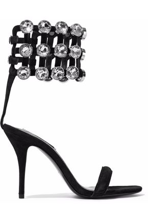 ALEXANDER WANG Antonia Cage crystal-embellished suede sandals