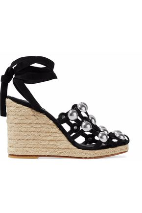 WOMAN TAYLOR STUDDED SUEDE ESPADRILLE WEDGE SANDALS BLACK