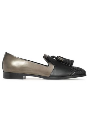 SERGIO ROSSI Tasseled two-tone metallic leather loafers