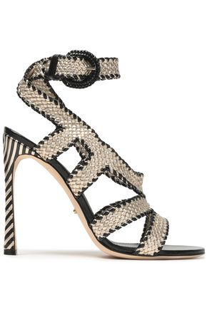 SERGIO ROSSI Metallic woven leather sandals
