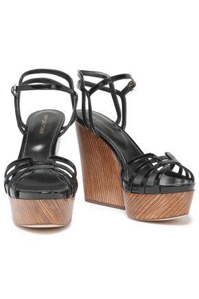 307e2a9931b ... SERGIO ROSSI Patent-leather platform sandals ...