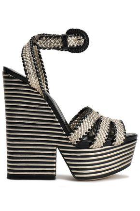 SERGIO ROSSI Metallic woven leather platform wedge sandals
