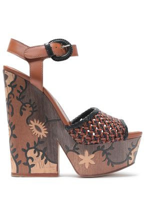 SERGIO ROSSI Two-tone woven leather sandals