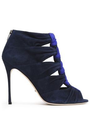 SERGIO ROSSI Knotted two-tone suede sandals
