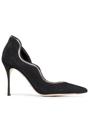 SERGIO ROSSI Chain-trimmed suede pumps